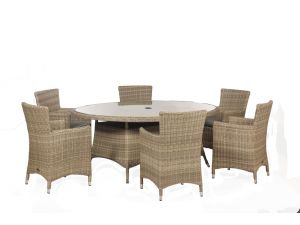 Royalcraft Wentworth Rattan 6 Seat Ellipse Carver Dining Garden Set with Cushions