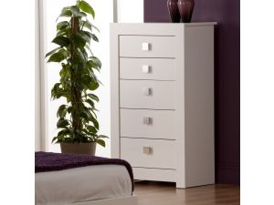Bari White High Gloss 5 Drawer Tall Chest