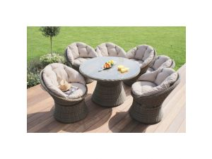 Maze Winchester 6 Seat Rattan Swivel Dining Set