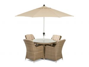 Maze Winchester Venice Natural Rattan 4 Seater Round Dining Set