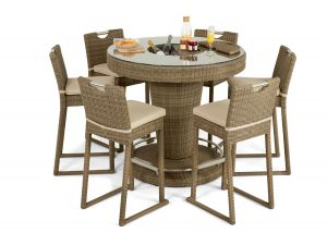 Maze Winchester Natural Rattan 6 Seater Bar Set With Ice Bucket