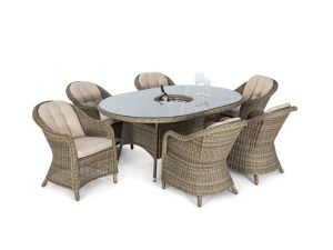 Maze Winchester Brown 8 Seat Oval Ice Bucket Dining Set with Rounded Chairs and Lazy Susan
