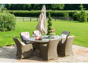 Maze Winchester 6 Seat Oval Ice Bucket Dining Set with Venice Chairs and Lazy Susan