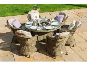 Maze Winchester Brown 6 Seat Round Dining Set with Round Chairs with Ice Bucket & Lazy Susan