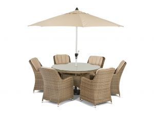 Maze Winchester Venice Natural Rattan 6 Seater Round Dining Set