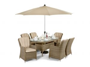 Maze Winchester Venice Natural Rattan 6 Seater Oval Dining Set