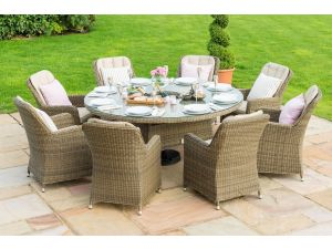 Maze Winchester Brown 8 Seat Round Ice Bucket Dining Set with Venice Chairs and Lazy Susan