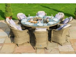Maze Winchester Brown 8 Seat Round Dining Set with Round Chairs Ice Bucket & Lazy Susan