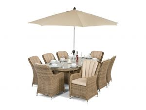 Maze Winchester Venice Natural Rattan 8 Seater Oval Dining Set