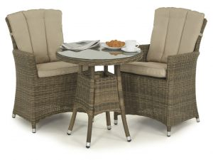 Maze Winchester Natural Rattan 2 Seater Bistro Set With Carver Chairs