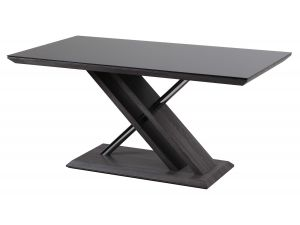 Fairmont Xavi 160cm Black Glass Walnut Dining Table