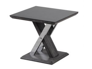Fairmont Xavi Black Glass and Walnut Side Table