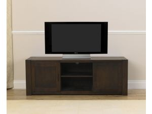 Verona Dark Solid Dark Oak TV Unit with Veneered Panels
