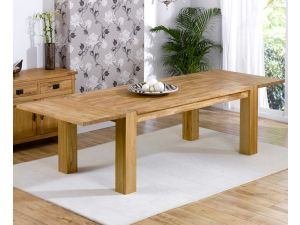 Madrid Chunky Solid Oak Dining Table in a Fingerjoint Style Medium
