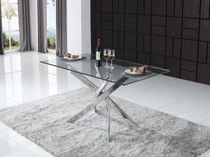 Kalmar 160cm Rectangular Tempered Glass Dining Table With 6 Evoque Chairs