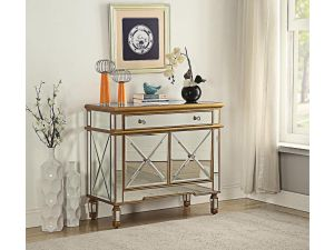 Imperial Gold Mirrored 2 Doors 1 Drawer Chest