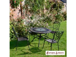 Europa Alcira Patio Stone Table With 4 Verona Rattan Chairs