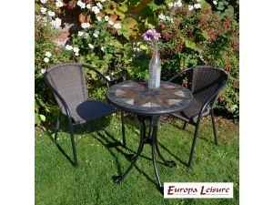 Europa Montilla Bistro Stone Table With 2 San Luca Rattan Chairs