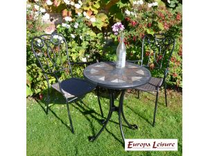 Europa Montilla Bistro Stone Table With 2 Verona Rattan Chairs