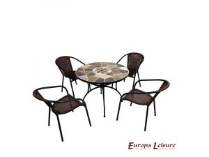 Europa Pomino Patio Stone Table With 4 San Luca Rattan Chairs