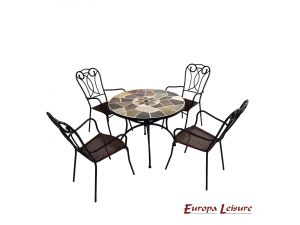 Europa Pomino Patio Stone Table With 4 Verona Rattan Chairs