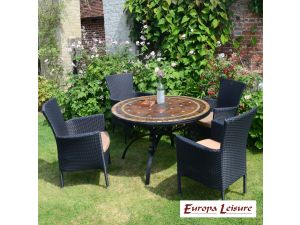 Europa Santa Susanna Dining Stone Table With 4 Stockholm Black Chairs