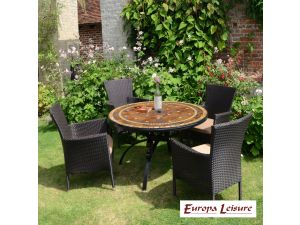Europa Santa Susanna Dining Stone Table With 4 Stockholm Brown Chairs