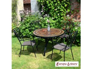 Europa Santa Susanna Dining Stone Table With 4 Verona Rattan Chairs