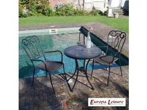 Europa Tobarra Bistro Stone Table With 2 Verona Rattan Chairs