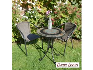 Europa Villena Bistro Stone Table With 2 San Luca Rattan Chairs