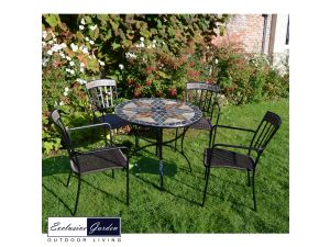 Europa Arlington 91cm Stone Patio Table With 4 Kingswood Steel Chairs