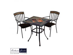 Europa 71cm Clandon Stone Patio Table With 2 Kingswood Steel Chairs