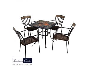 Europa 71cm Clandon Stone Patio Table With 4 Kingswood Steel Chairs