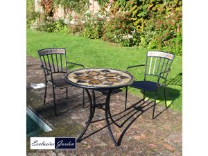 Europa 76cm Dalton Bistro Stone Table With 2 Kingswood Steel Chairs