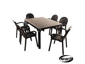 Europa Anthracite Alloro Anthracite With 6 Palma Resin Chairs