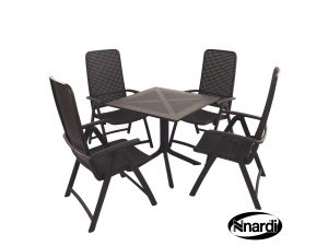 Europa Anthracite Clip Table With 4 Darsena Resin Chairs