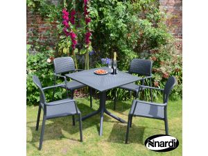 Europa Anthracite Clip Table With 4 Bora Resin Chairs