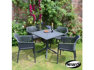 Europa Anthracite Clip Table With 4 Net Resin Chairs