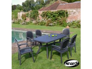 Europa Anthracite Toscana 165 Plain With 6 Beta Chairs