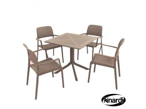 Europa Turtle Dove Clip Table With 4 Bora Resin Chairs
