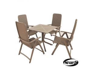 Europa Turtle Dove Clip Table With 4 Darsena Resin Chairs
