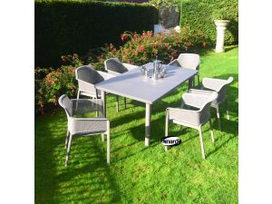 Europa Turtle Dove Libeccio Table With 6 Net Resin Chairs