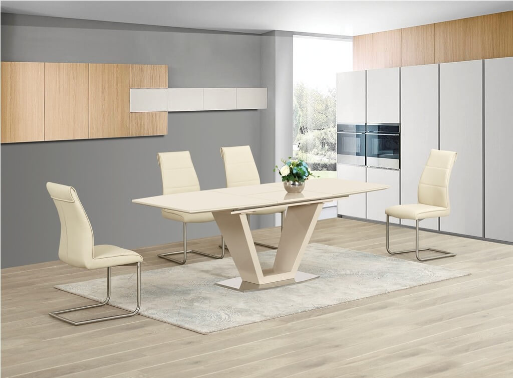 Lorgato Cream High Gloss Extending Dining Table and 4 Zayno Cream Chairs