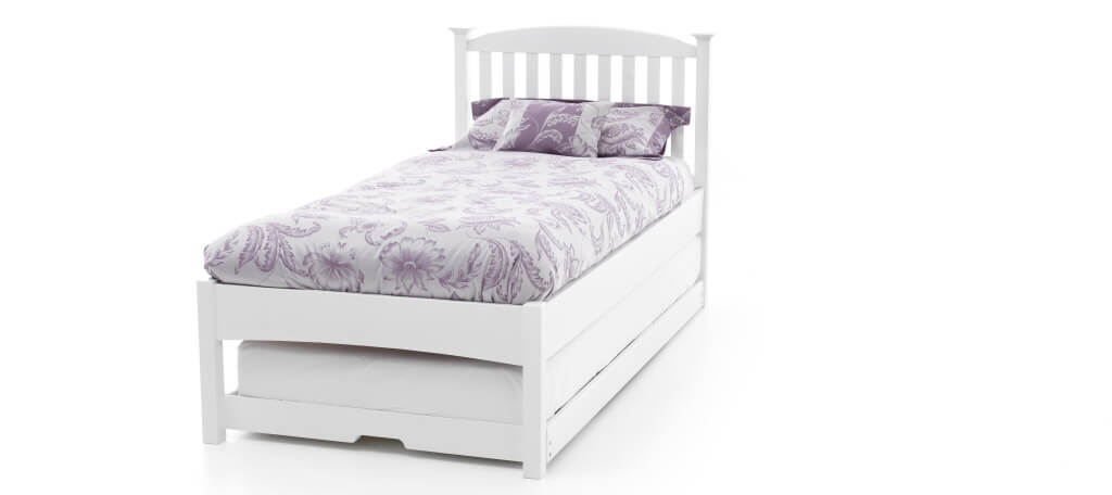 Photo of Serene eleanor 3ft single opal white hevea wood low foot end guest bed