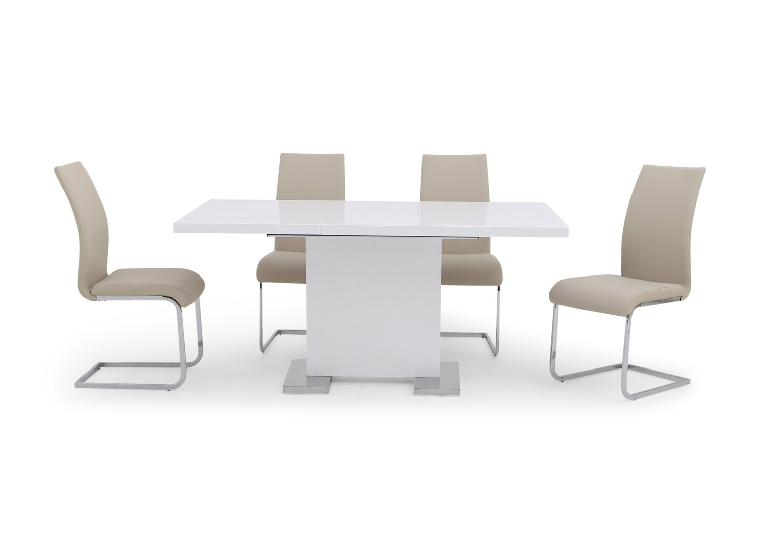 Fairmont Leone Ext White High Gloss Dining Table + 4 Paolo Grey Chairs
