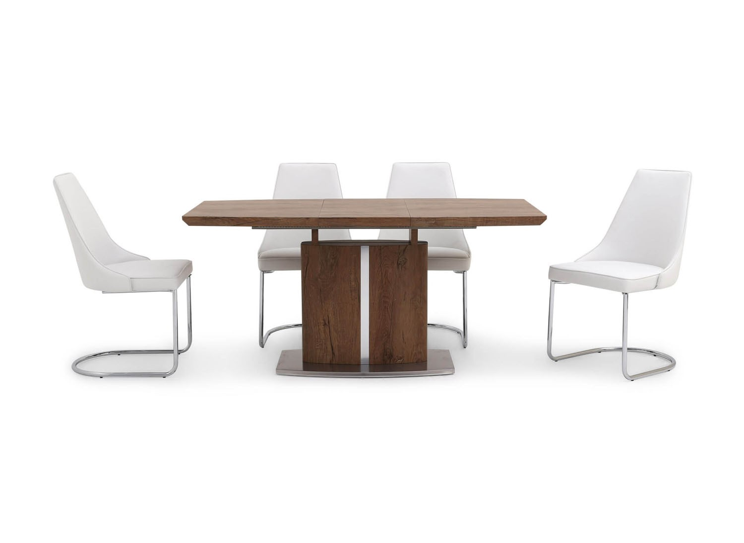 Fairmont Thiago Ext Walnut Dining Table + 4 Mya Grey Chairs