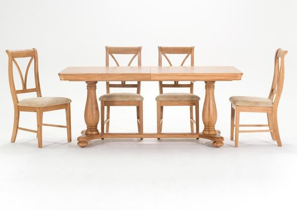 Carmen 180cm Large Oak Ext. Dining Table with 6 Chairs