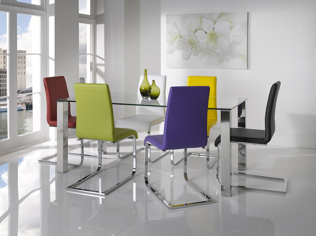 Mezzi Tempered Glass Dining Table With 6 Hue Chairs 648 00 Go Furniture Co Uk