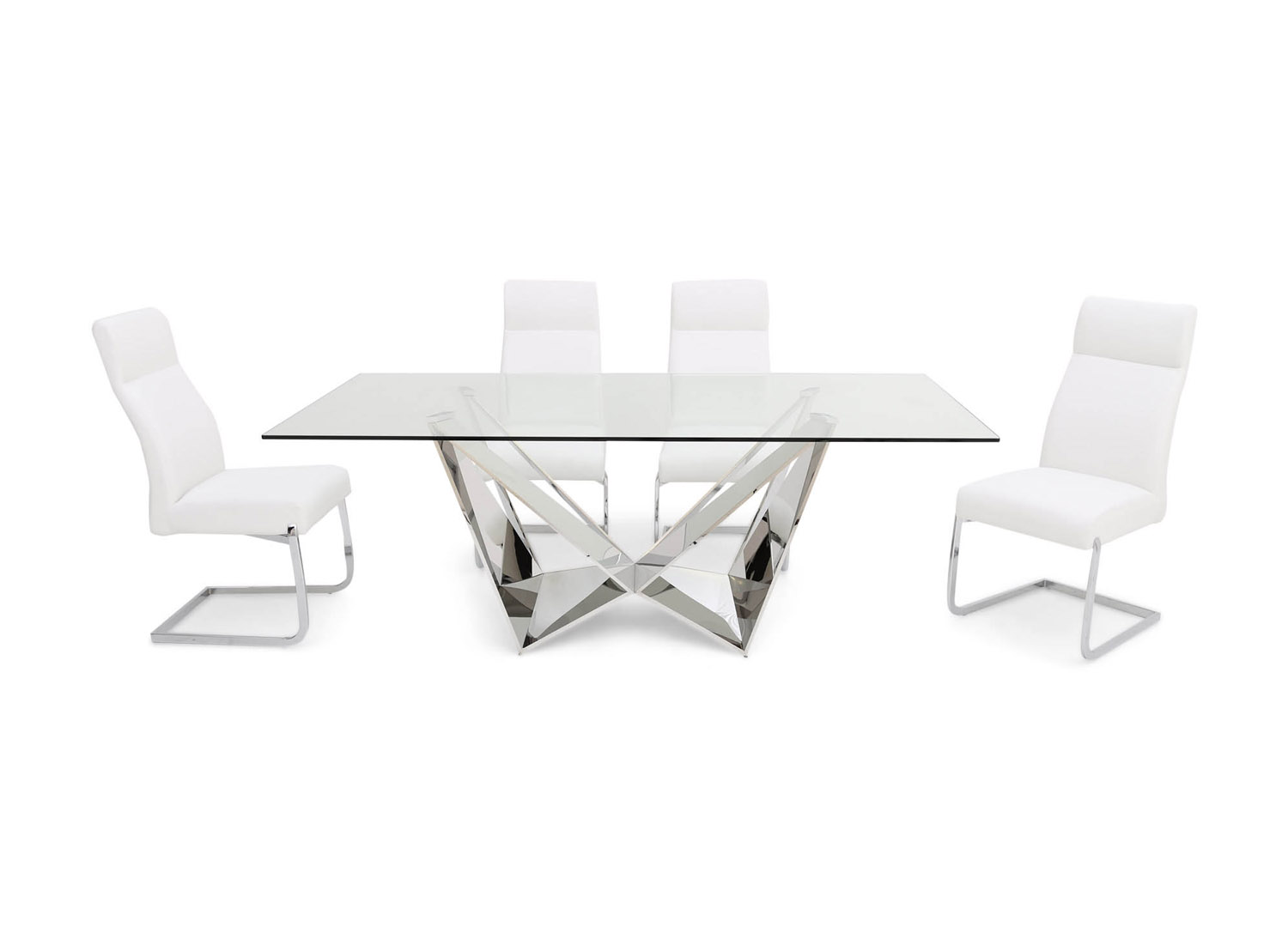 Fairmont Florentina Clear Glass Dining Table + 6 Dante