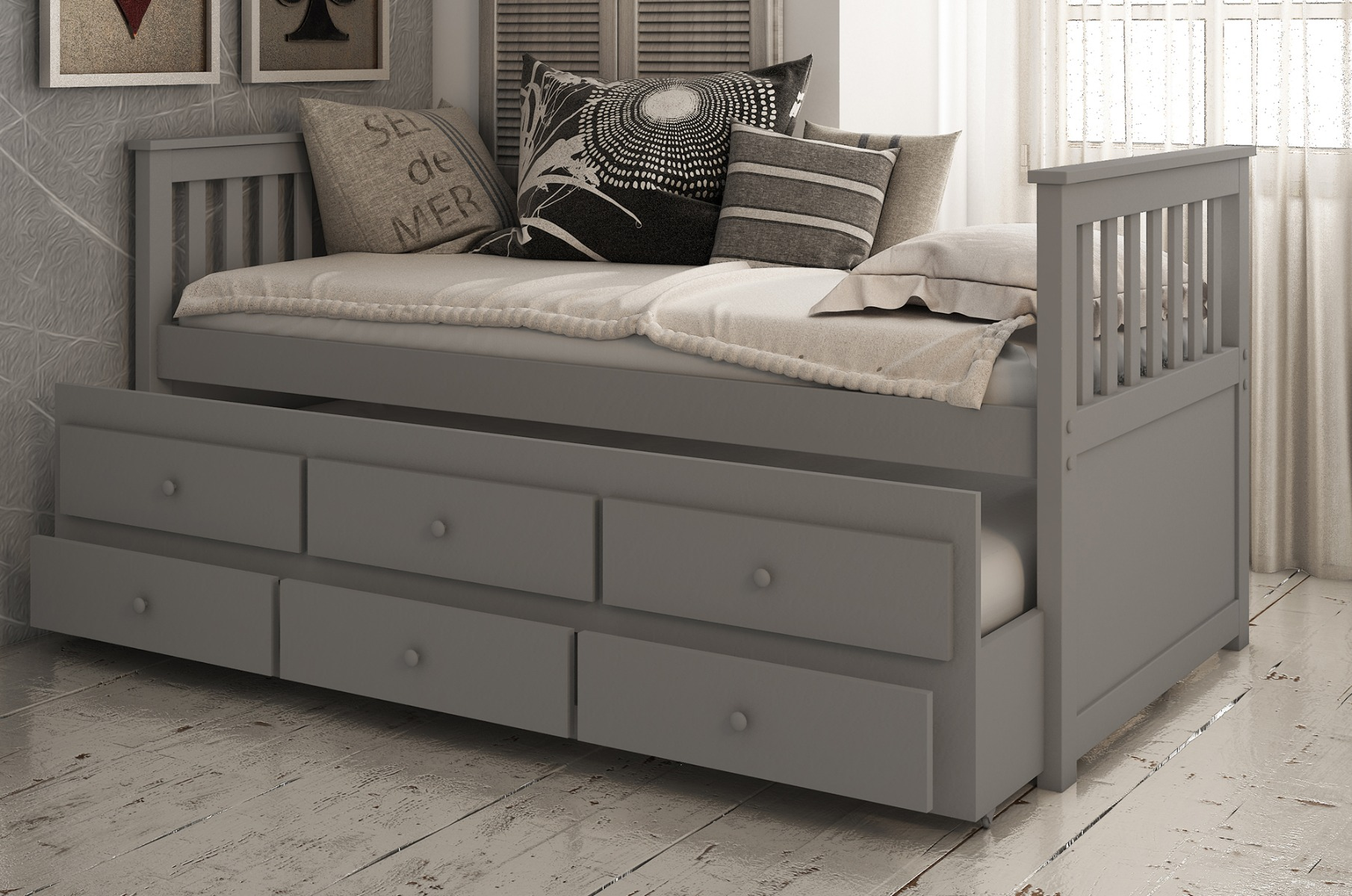 Flos 3ft Single Grey Wooden Day Bed